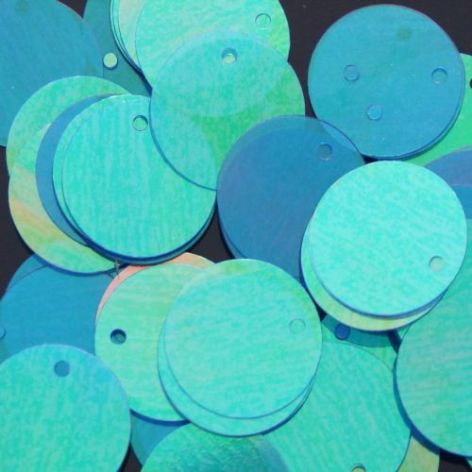 Bulk Bag 15mm Iridescent Blue/Green Flat Round Sequins x 1000